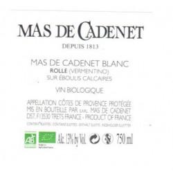Vin Blanc - Côtes de Provence - Mas de Cadenet - Blanc 2020
